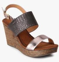 2dda92bfd7b Jove Silver Metallic Sling Back Wedges for women - Get stylish shoes for  Every Women Online in India 2019