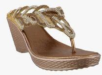 2ecc40343 Mochi Antique Gold Wedges for women - Get stylish shoes for Every ...