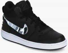 best service 11dca 0c096 Nike Court Borough Mid Black Sneakers for Boys in India May, 2019    PriceHunt